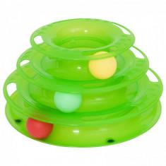 Jucarie Pisica Circuit Cu Turn, Plastic 25/13cm, Verde