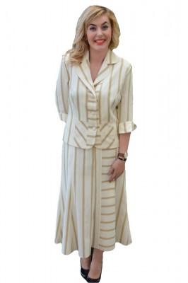 Costum de ocazie crem, cu dungi maro, format din fusta si sacou foto