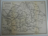 Harta Romania Mare, caile ferate, 1930, 27x35 cm, stare foarte buna, lb franceza