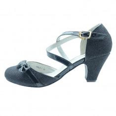 Pantofi cu toc pentru fetite Miss Q F6622-7, Negru