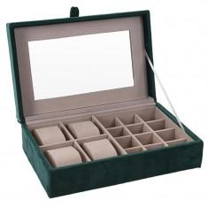 Cutie de Bijuterii si Ceasuri cu oglinda, culoare Verde inchis, captuseala Catifea, 25x16x7cm