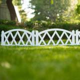 Cumpara ieftin Pachet 4 buc Bordura Gardulet Decorativ Plastic pentru Gazon sau Flori, Dimensiuni 240x24cm, Alb