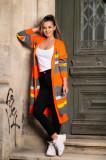 Cardigan casual portocaliu neon cu dungi