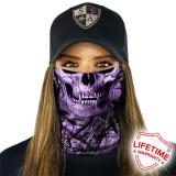 Bandana/Face Shield/Cagula/Esarfa - Purple Forest Camo | Skull, made in USA