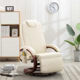 VidaXL Fotoliu de masaj rabatabil pentru TV, alb crem piele ecologică