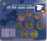Spania Set 8B - 1, 2, 5, 10, 20, 50 euro cent, 1, 2 euro 2001 - UNC !!!