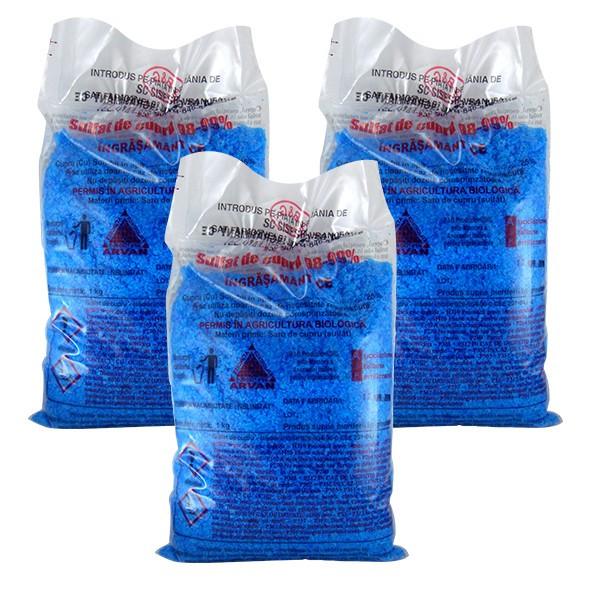 3 x Piatra Vanata/ Sulfat de Cupru 1000g, pentru zeama bordeleza, 3 x 1kg
