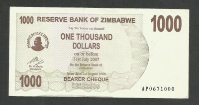 ZIMBABWE  1000  1.000  DOLARI  DOLLARS  2006   [2]  P- 44  ,  XF++ foto
