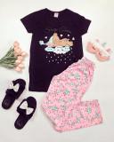 Cumpara ieftin Pijama dama ieftina bumbac cu pantaloni lungi roz si tricou negru cu imprimeu Ursulet Sleep Time