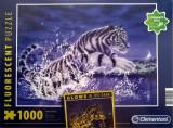 Cumpara ieftin Puzzle Clementoni Fosforescent - Glows in the Dark - Tigrul alb - Puterea vieții - 1000 de piese