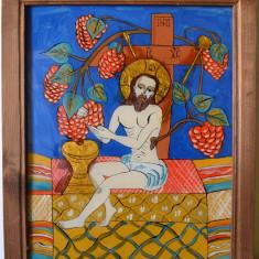Iisus Hristos - viţa de vie, pictură pe sticlă