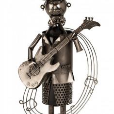 Suport metal pentru sticla vin chitarist note muzicale H 37 cm