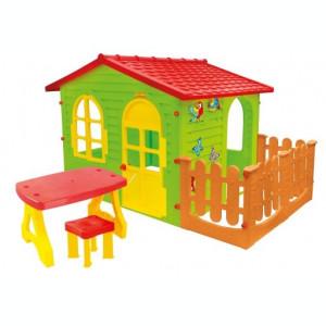 Casuta de joaca MochToys pentru gradina cu gard, masa si scaun