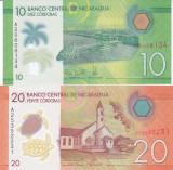 Bancnota Nicaragua 10 si 20 Cordobas 2014 - P209/210 UNC ( polimer , set x2 )