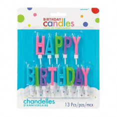 Lumanari Litere Colorate Happy Birthday Bright set 13 buc