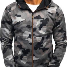 Bluză pentru bărbat cu glugă și fermoar camuflaj-gri Bolf W1380
