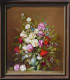 Tablou cu flori, semnat K. Balogh, Ungaria, Ulei pe Panza, Impresionism