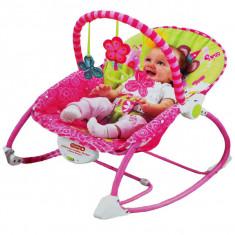 Balansoar bebelusi si scaun 2 in 1 cu vibratii si muzica roz