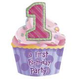 Invitatii de petrecere 1st birthday fetita, Amscan 493897, Set 8 buc