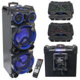 Boxa portabila 2 x 12 inch, iluminata, USB, SD, BT, FM, AUX, 300 W