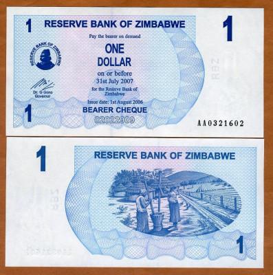 !!!  ZIMBABWE  -  1  DOLAR  2006  -  P 37  -  UNC  // SERIA  AB foto
