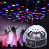 Glob disco LED RGB, reda muzica, bluetooth, USB, telecomanda, stick player