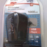 INCARCATOR RETEA cu priza USB pt. telefoane CECT si PDA, PND SI ALTE APARATE CU ALIMENTARE CU CABLU USB, PRC