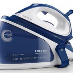 Statie de calcat Taurus Sensity Compact, 2200 W, 4.5 bar, Talpa ceramica, Rezervor 1 l cu incarcare non stop, Termostat reglabil, (Alb/Albastru)