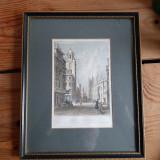 "Print gravura veche (1829) ""View in Corn Street, Bristol"""