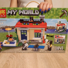 NOU/SIGILAT - Set de 366 piese tip lego Minecraft My World LELE 33076
