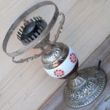 LAMPA ELECTRICA VECHE DIN ANTIMONIU SI PORTELAN - NECESITA RECONDITIONARE