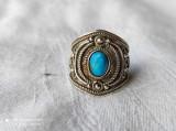 INEL argint cu TURCOAZ etnic TRIBAL exceptional REGLABIL de efect SPLENDID rar