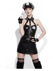 Costum sexy de politista negru lucios foto