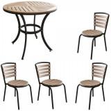 Set terasa masa rotunda POLYWOOD NATURAL 80x72cm cu 4 scaune 77x40cm B003025-95314-95311 Raki
