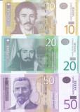 Bancnota Serbia 10, 20 si 50 Dinari 2006-13 - P46,55,56 UNC ( set x3 )