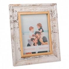 Rama foto din lemn, model alb periat, 24×29 cm