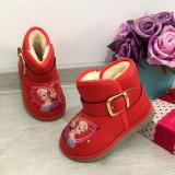 Cizme rosii imblanite cu printese si catarama pt fete copii bebe 22 23