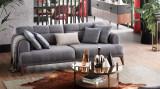 Canapea tapitata cu stofa, 3 locuri, cu functie sleep pentru 1 persoana Madrid Gri, l231xA102xH80 cm