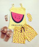 Cumpara ieftin Pijama dama bumbac primavara-vara cu pantaloni scurti galbeni si maieu galben cu imprimeu Pepene