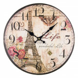 Ceas de perete rotund, model turnul eiffel, 33,8 cm, multicolor