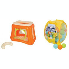 Pachet Spatiu de joaca gonflabil Cat + Set bile de joaca Mixt