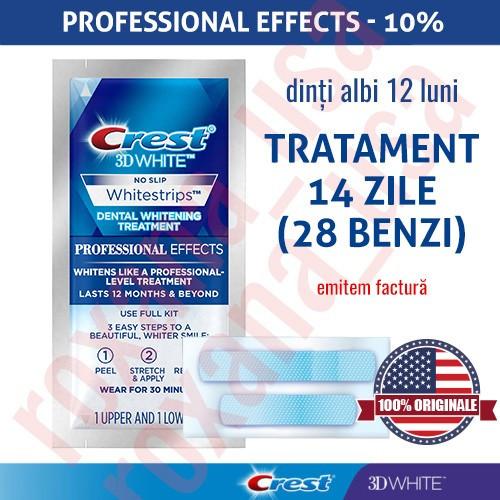 28x Benzi Albirea Dintilor Crest Whitestrips 3D Professional Effects