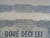 ROMANIA, 2 x 20 lei 1929......ianuarie si septembrie...de colectie....SUPERBE