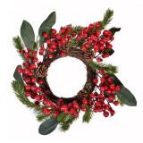 Cumpara ieftin Coronita decorativa de Craciun, 40 cm, model conuri si fructe