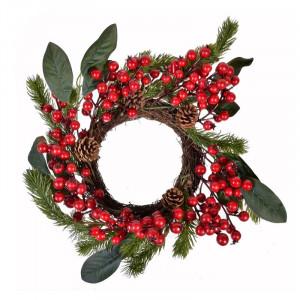 Coronita decorativa de Craciun, 40 cm, model conuri si fructe