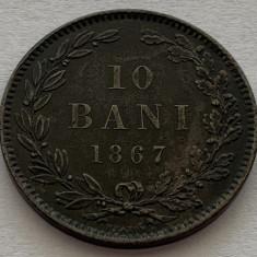 10 Bani 1867 Heaton, Bronz, Romania XF++