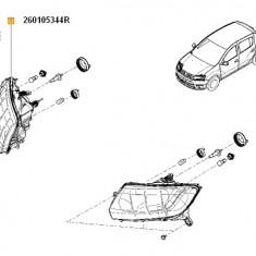 Far Dacia Logan II, Logan MCV II 2012-11.2016; Sandero II 2012-; Partea Dreapta , Reglabil Prin Cablu, tip bec H4 , 260105344R