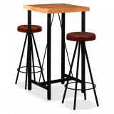 Set mobilier bar 3 piese lemn masiv de acacia & piele naturală, vidaXL