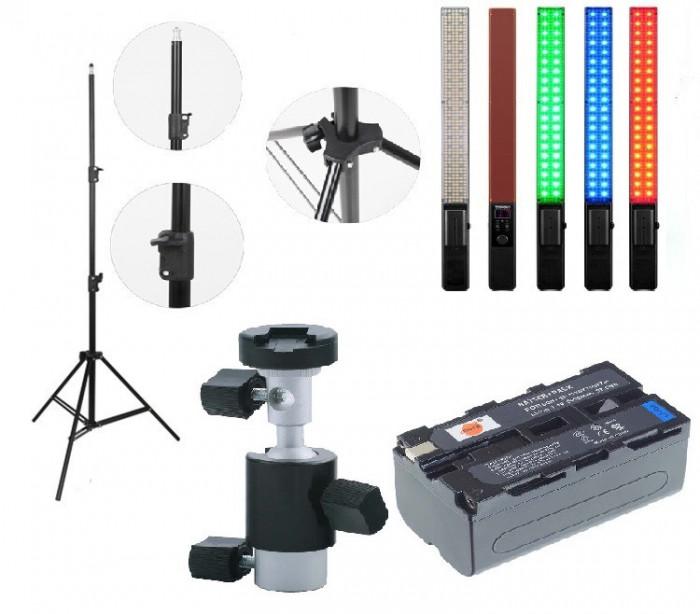 Kit lumina continua Lampa Yongnuo YN360+ Acumulator NP F+ incarcator+ stativ+ suport orientabil pentru stativ