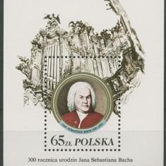 Polonia, muzica, J. S. Bach, blocul cu mentiune 300 ani de la nastere, 1985, MNH